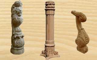 Резные столбы из дерева в наружных и внутренних конструкциях