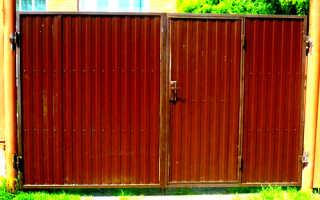 Установка ворот из профнастила с калиткой своими руками: фото и видео