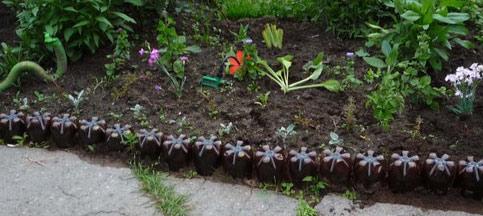 грядка пластиковые бутылки