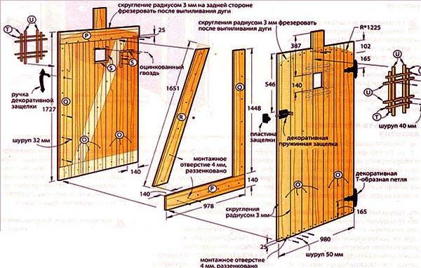 схема деревянной калитки