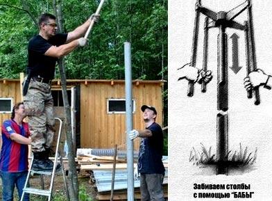установка столбов из металла