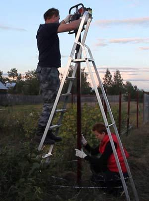 забивка заборного столба